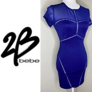 2B BEBE Blue Bodycon Leather Mesh Detail Dress XS